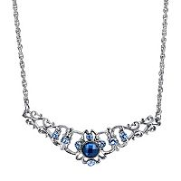 1928 Blue Simulated Crystal Collar Necklace