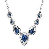 1928 Openwork Blue Teardrop Necklace