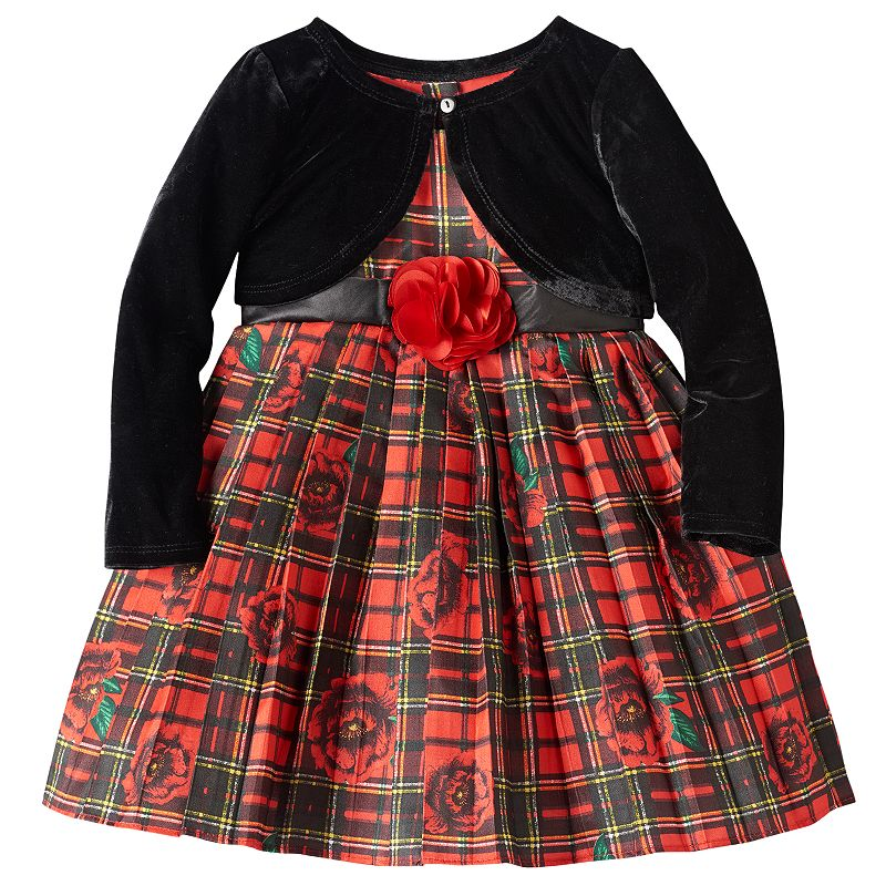 Toddler Girl Nannette Plaid Dress & Shrug Set