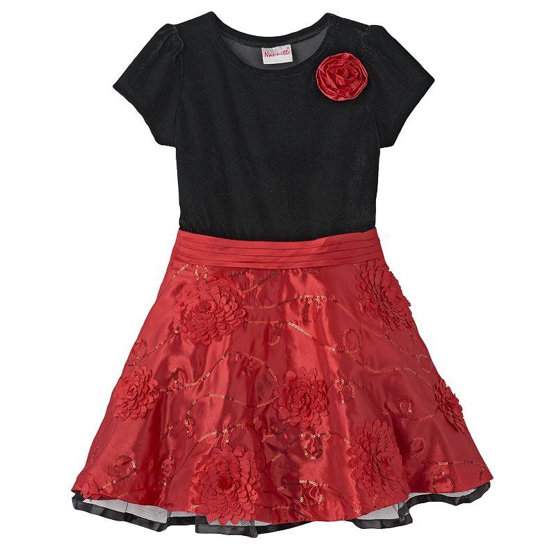 Nannette Sequin Velvet Dress - Girls 4-6x
