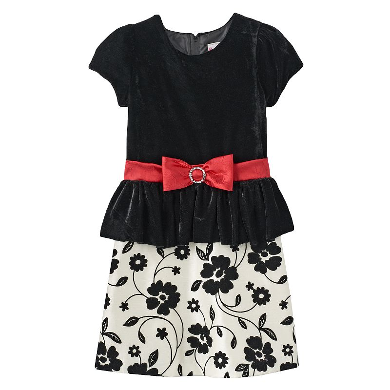Nannette Velvet Floral Dress - Girls 4-6x