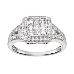 Diamond Square Halo Engagement Ring in 10k White Gold (3/4 Carat T.W.) by
