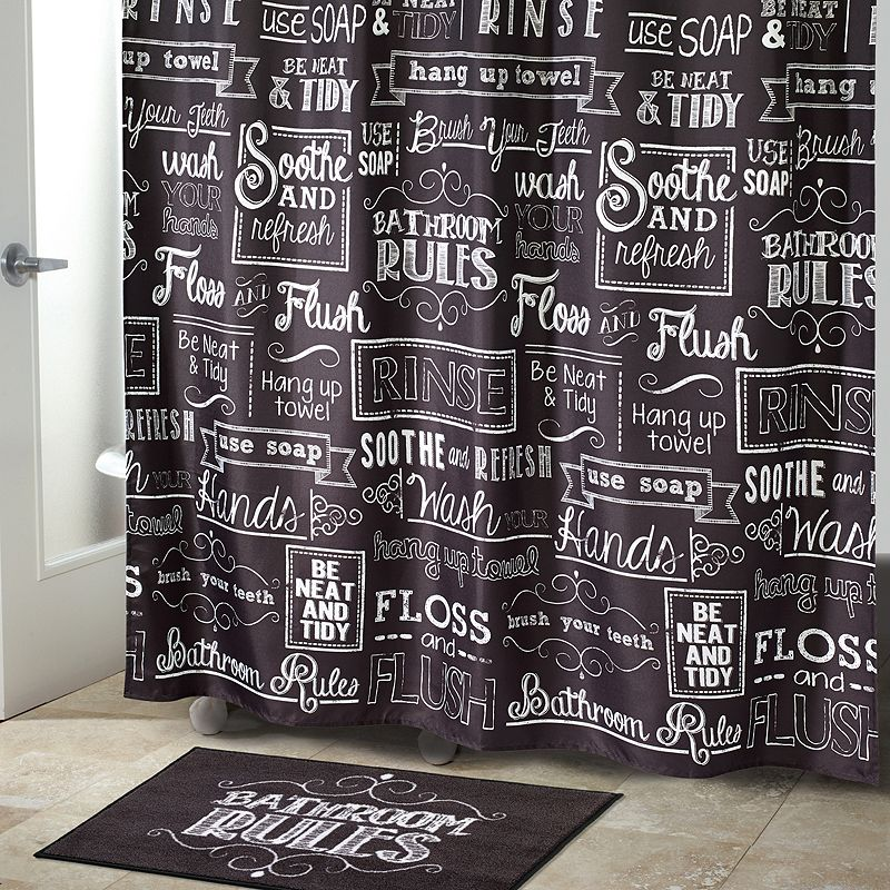 Chalk It Up Fabric Shower Curtain