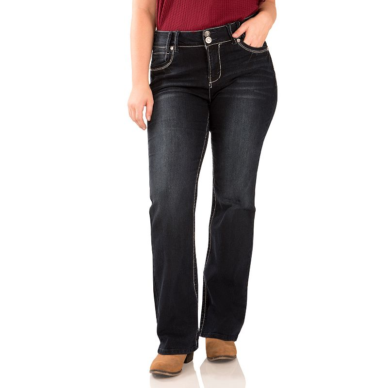 Juniors' Plus Size Wallflower 2-Button Curvy Bootcut Jeans