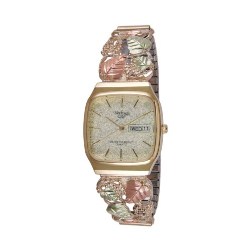 Black Hills Gold & Stainless Steel Four Tone Leaf & Grape Expansion Watch - Men