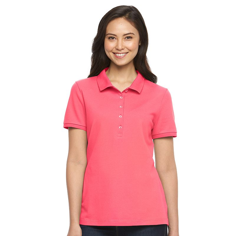 Pink button placket top kohl 39 s for Croft and barrow womens polo shirts