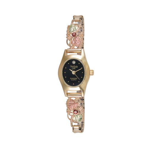 Black Hills Gold & Stainless Steel Four Tone Garnet & Diamond Accent Leaf Expansion Watch