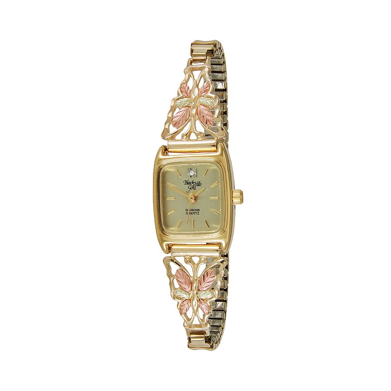 Black Hills Gold & Four Tone Stainless Steel Women's Diamond Butterfly Expansion Watch - 9-WB18