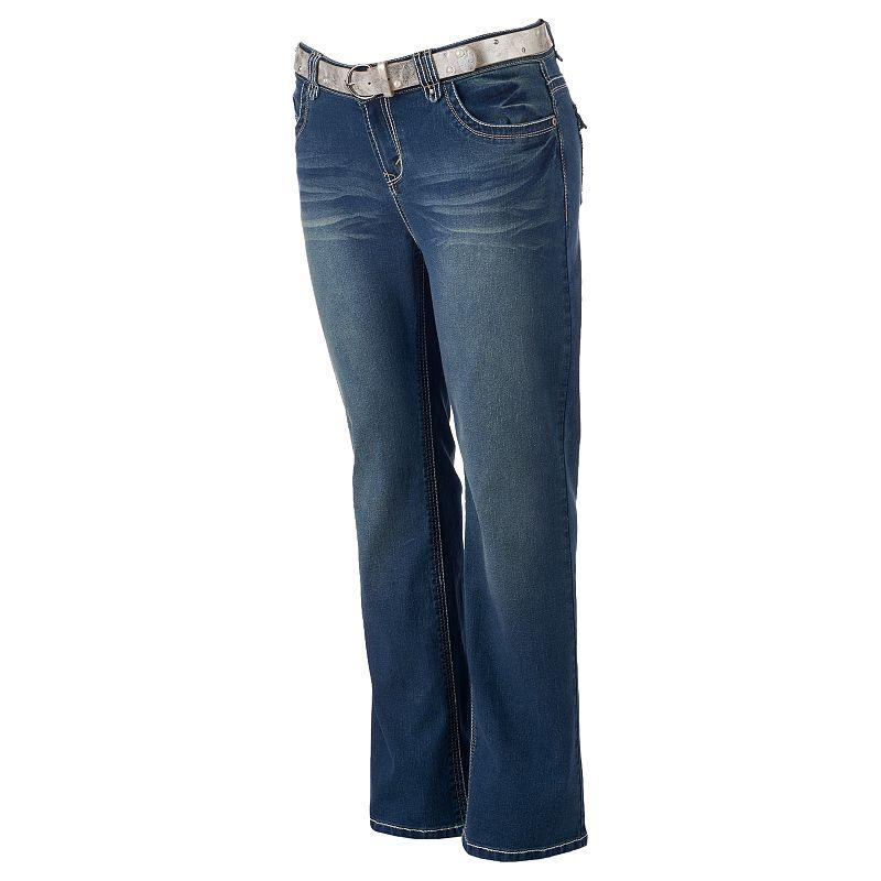 Juniors' Plus Size Wallflower Skinny Bootcut Jeans