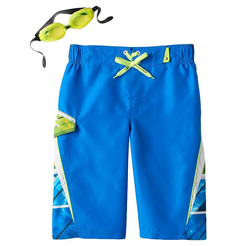 Boys 8-20 ZeroXposur Sea Scape Swim Shorts With Goggles