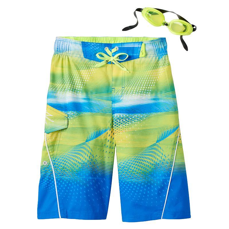Boys 8-20 ZeroXposur Beach 2 Street Digital Wave Board Shorts with Goggles