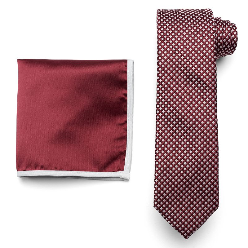 Van Heusen Glow-In-The-Dark Tonal-Checked Skinny Tie & Pocket Square Set - Men