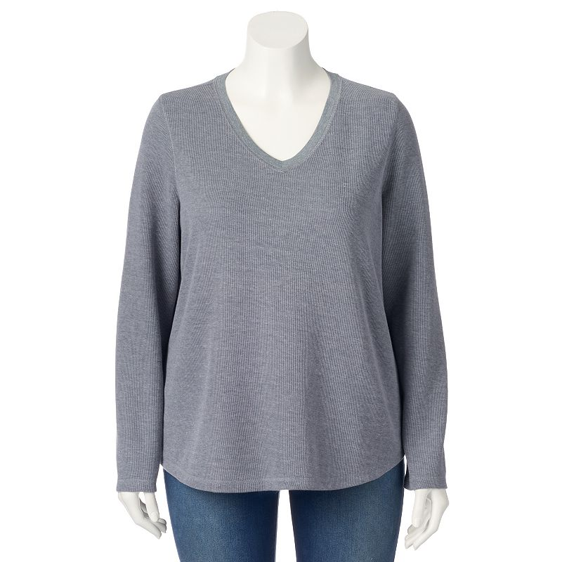 Plus Size SONOMA life + style Ribbed Top, Grey