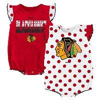 Baby Reebok Chicago Blackhawks Polka-Dot Bodysuit Set