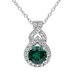 Lab-Created Emerald & Lab-Created White Sapphire Sterling Silver Twist Pendant Necklace by