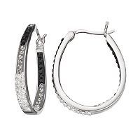 Crystal Splendor Platinum Over Silver U-Hoop Earrings
