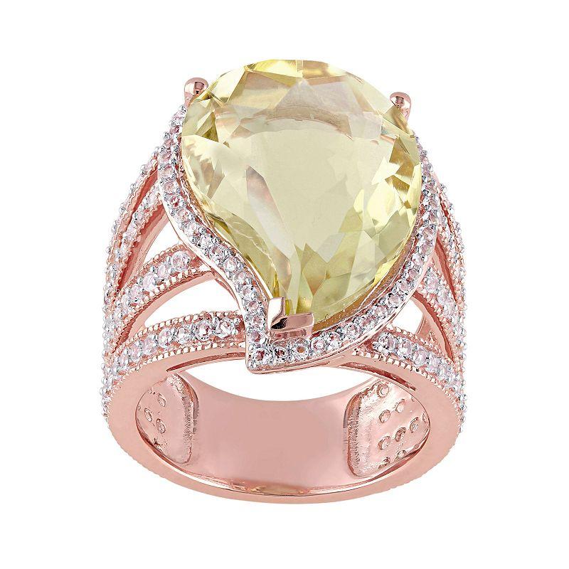 Lemon Quartz & White Topaz Pink Rhodium-Plated Sterling Silver Teardrop Halo Ring