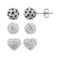 Crystal Splendor Platinum Over Silver Heart & Ball Stud Earring Set