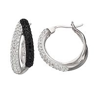 Crystal Splendor Platinum Over Silver Double Hoop Earrings