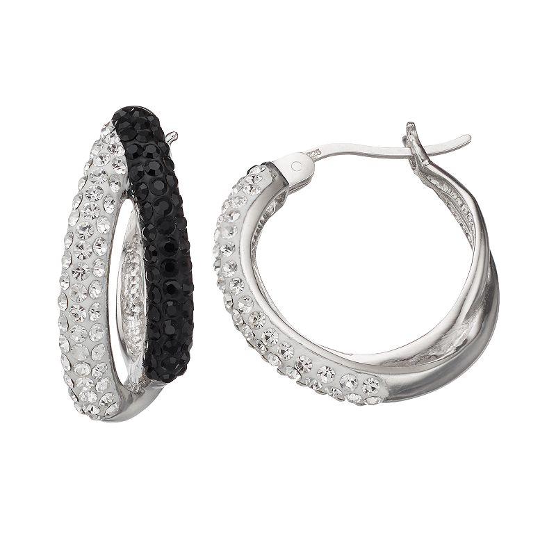 Crystal Splendor Platinum Over Silver Double Hoop Earrings