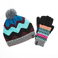 Chaos Knit Pom-Pom Striped Hat & Gloves Set