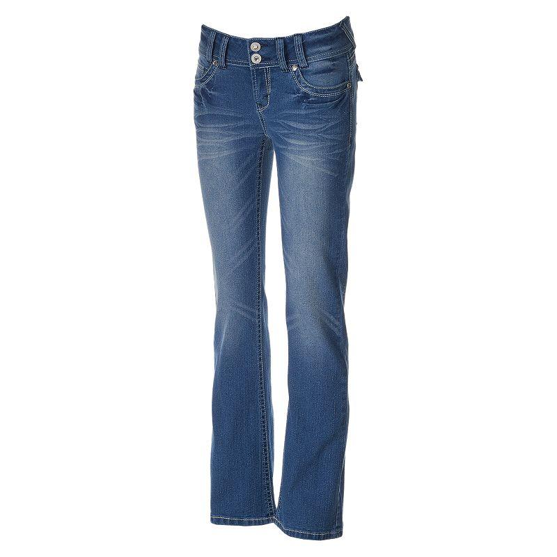 Juniors' Wallflower Embellished Curvy Bootcut Jeans