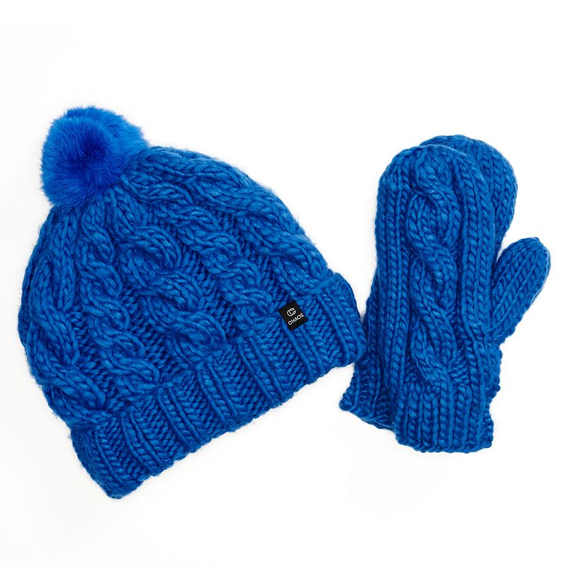 Chaos Cable-Knit Beanie Hat & Mittens Set