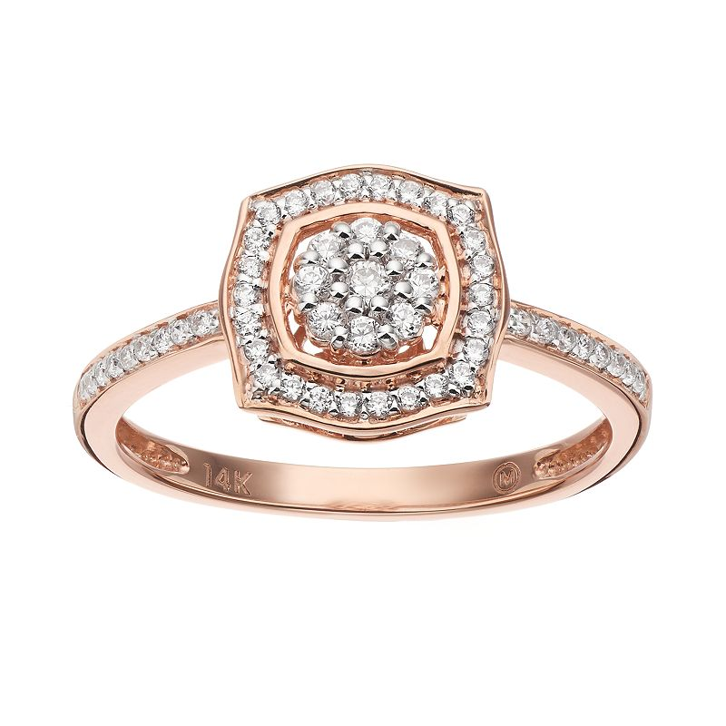 Simply Vera Vera Wang 1/4 Carat T.W. Diamond 14k Rose Gold Square Frame Ring