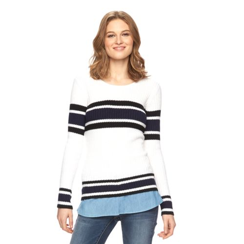 Women's AB Studio Striped Crewneck Sweater