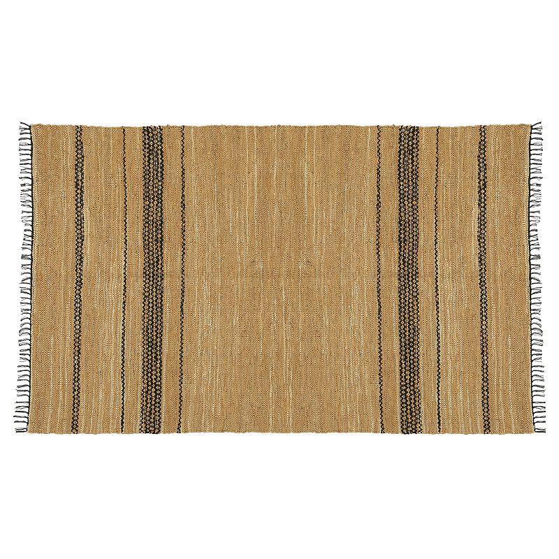St. Croix Matador Reversible Striped Leather Rug