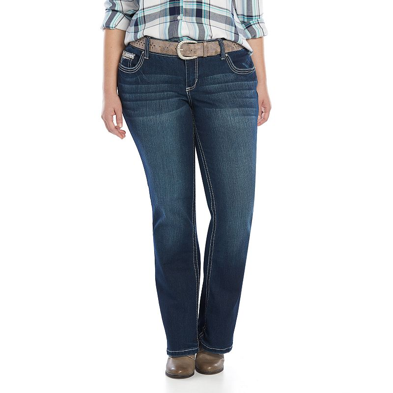 Juniors' Plus Size Amethyst Belted Slim Bootcut Jeans