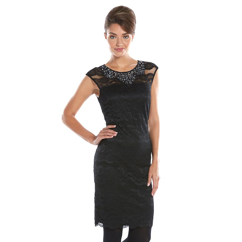 Scarlett Embellished Lace Sheath Dress - Women's