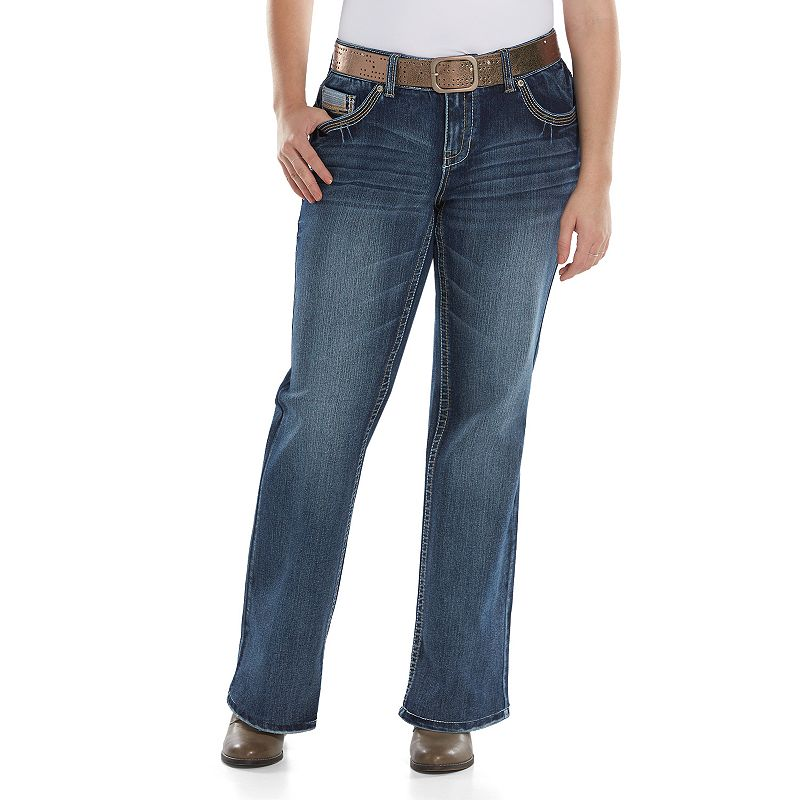 Juniors' Plus Size Amethyst Belted Bootcut Jeans