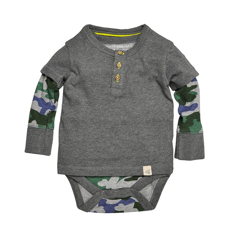 Baby Boy Burt's Bees Baby Organic Rugby Striped Mock-Layer Henley Bodysuit