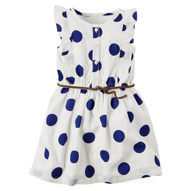 Girls 4-8 Carter's Woven Polka-Dot Dress with Belt