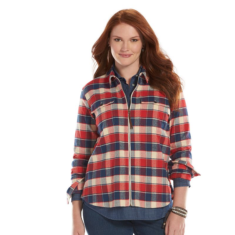 Plaid flannel womens shirt kohl 39 s for Zip front flannel shirt