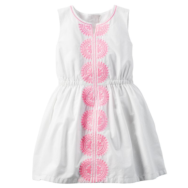Girls 4-8 Carter's Embroidered White Poplin Dress