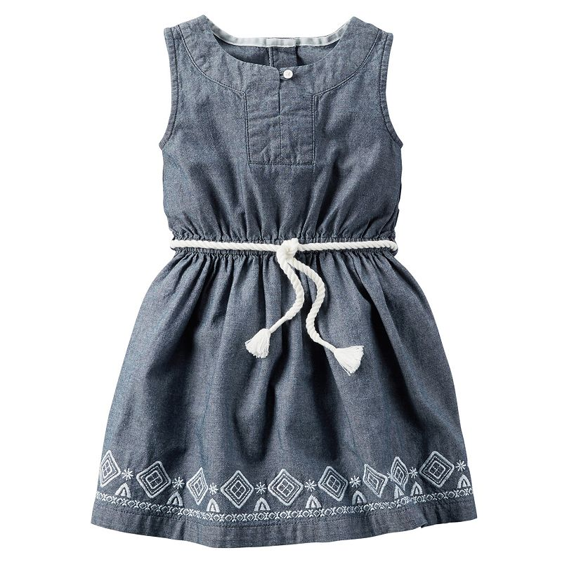 Girls 4-8 Carter's Embroidered Chambray Dress with Belt