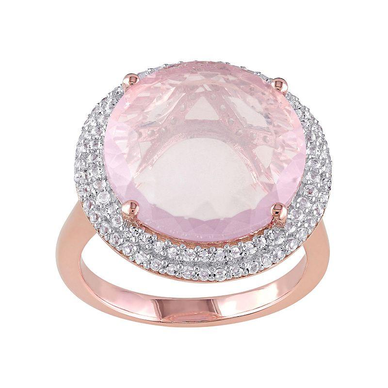 Rose Quartz & White Topaz Pink Rhodium-Plated Sterling Silver Halo Ring