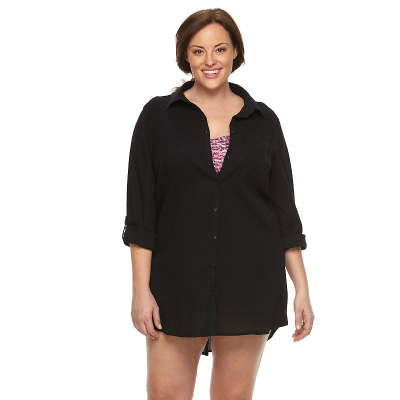 Plus Size Apt. 9® Roll-Tab Gauze Cover-Up
