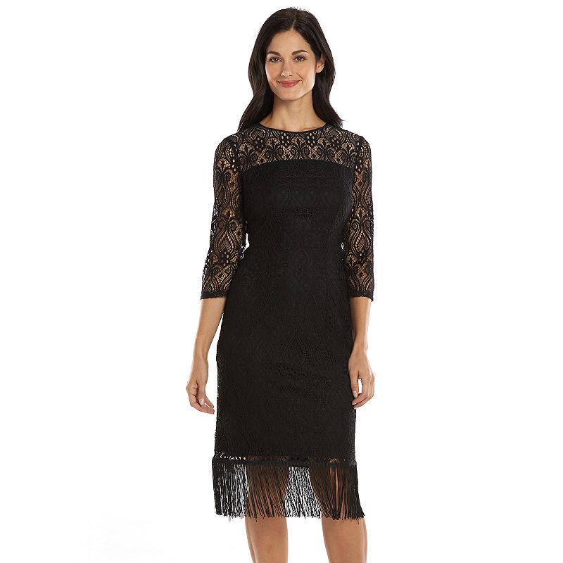 Suite 7 Lace Fringe-Hem Sheath Dress - Women's