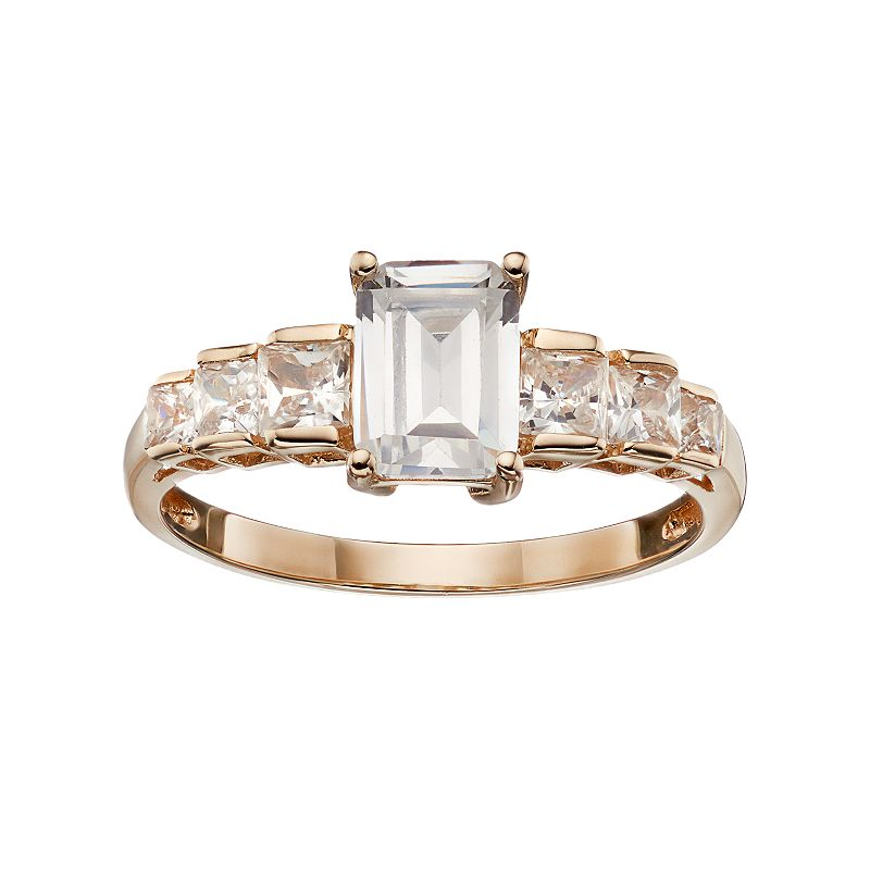 Emotions Cubic Zirconia 10k Gold Ring - Made with Swarovski Zirconia