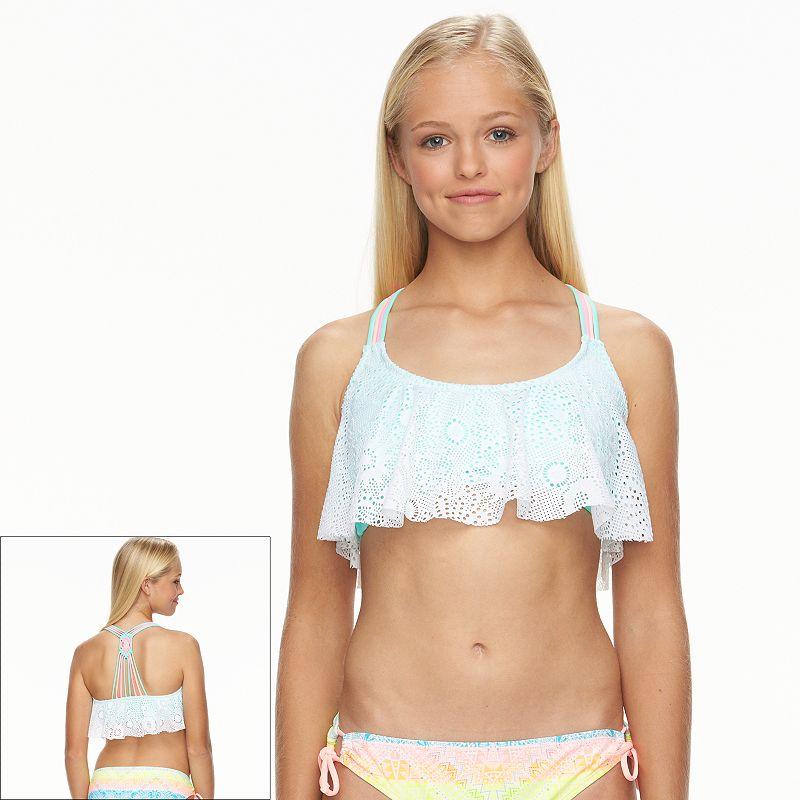 Juniors' Breaking Waves Crochet Flounce Bikini Top