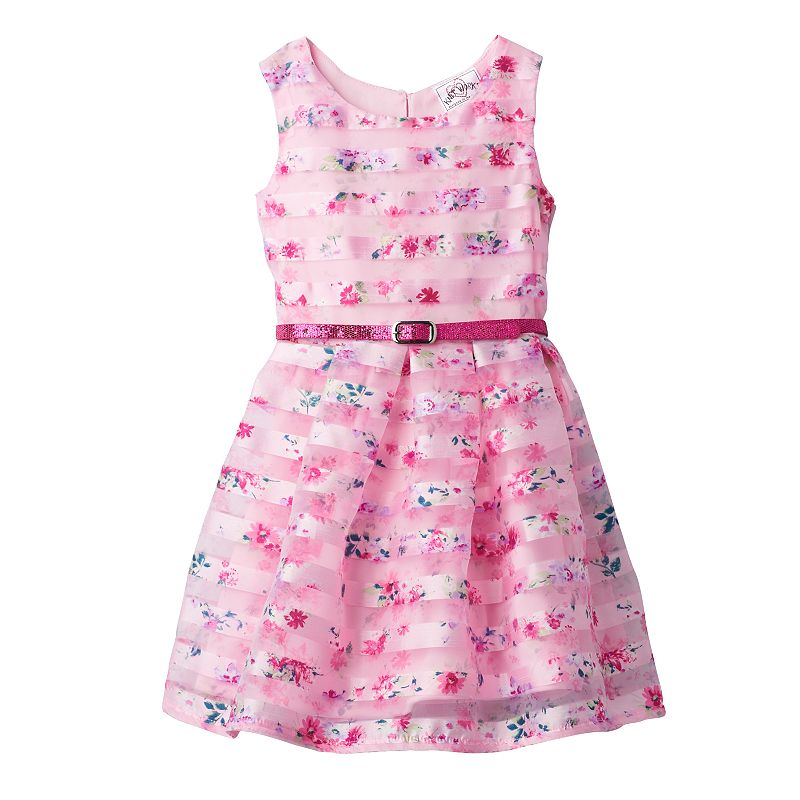 Toddler Girl Knitworks Sheer Stripe Floral Dress