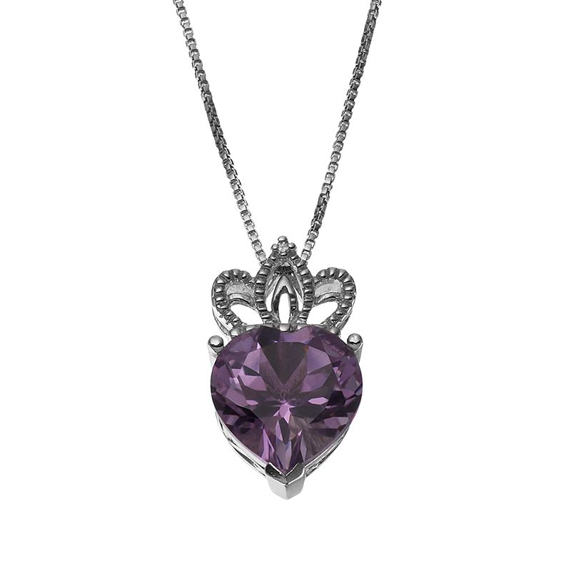 Amethyst Sterling Silver Crown & Heart Pendant Necklace