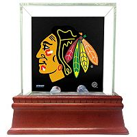 Steiner Sports Glass Single Puck Display Case with Chicago Blackhawks Logo Background