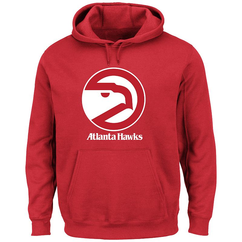 Men's Majestic Atlanta Hawks Hardwood Classics Tek Patch Hoodie