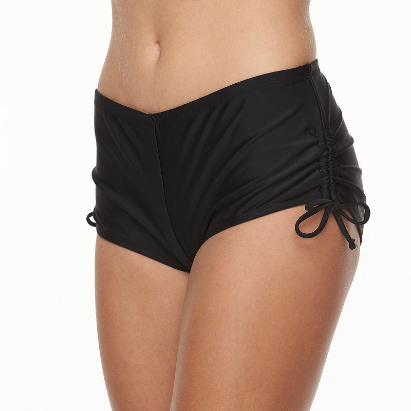 Juniors' Breaking Waves Solid Boyshort Bottoms