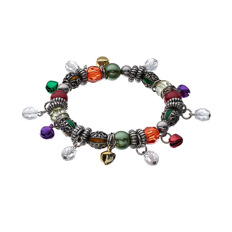 Beaded Jingle Bell Charm Stretch Bracelet