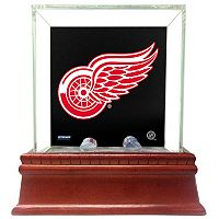 Steiner Sports Glass Single Puck Display Case with Detroit Red Wings Logo Background